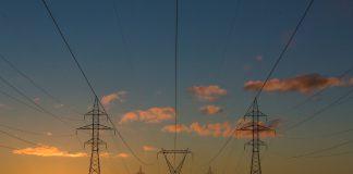 Закат, электричество, электролинии