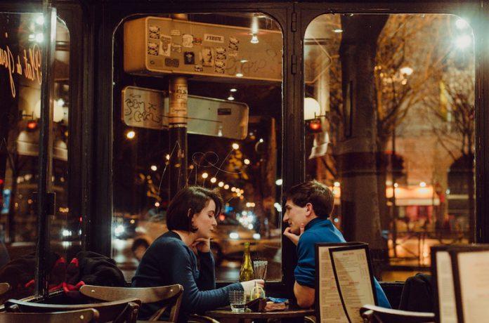 Свидание, пара, ресторан, бар, кафе