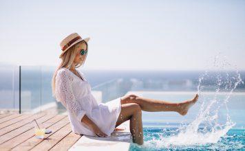 Девушка, бассейн, отдых, отпуск