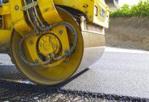 Дорожные работы, асфальт, каток, дорога, ремонт