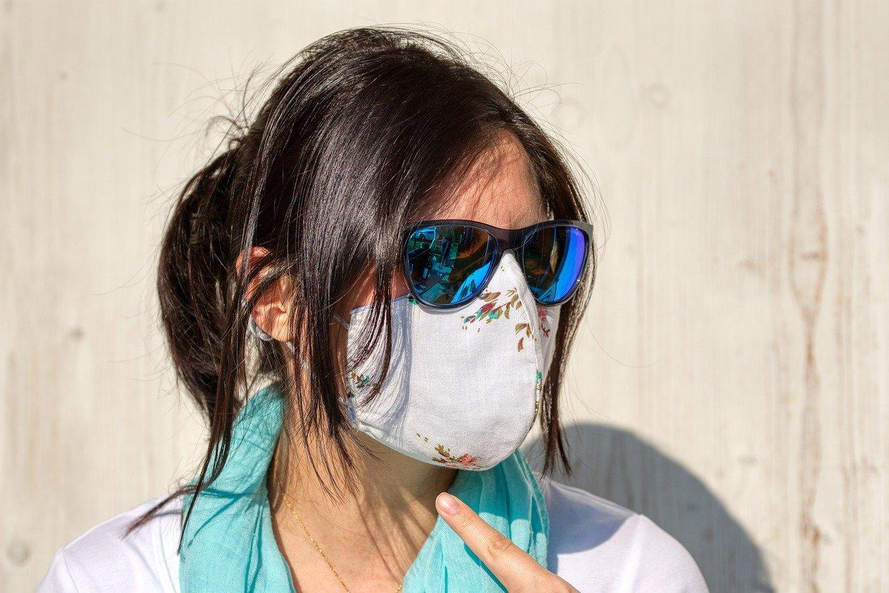 вирус, маска, очки, женщина, защита, коронавирус