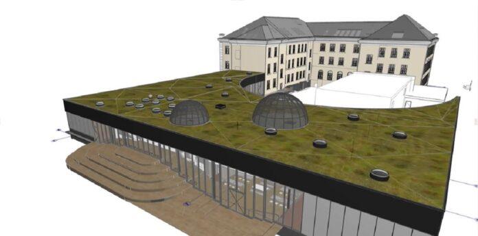 Стоп-кадр презентации нового здания школы и госгимназии.