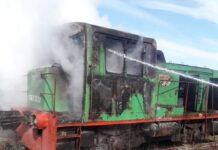 Загоревшийся локомотив