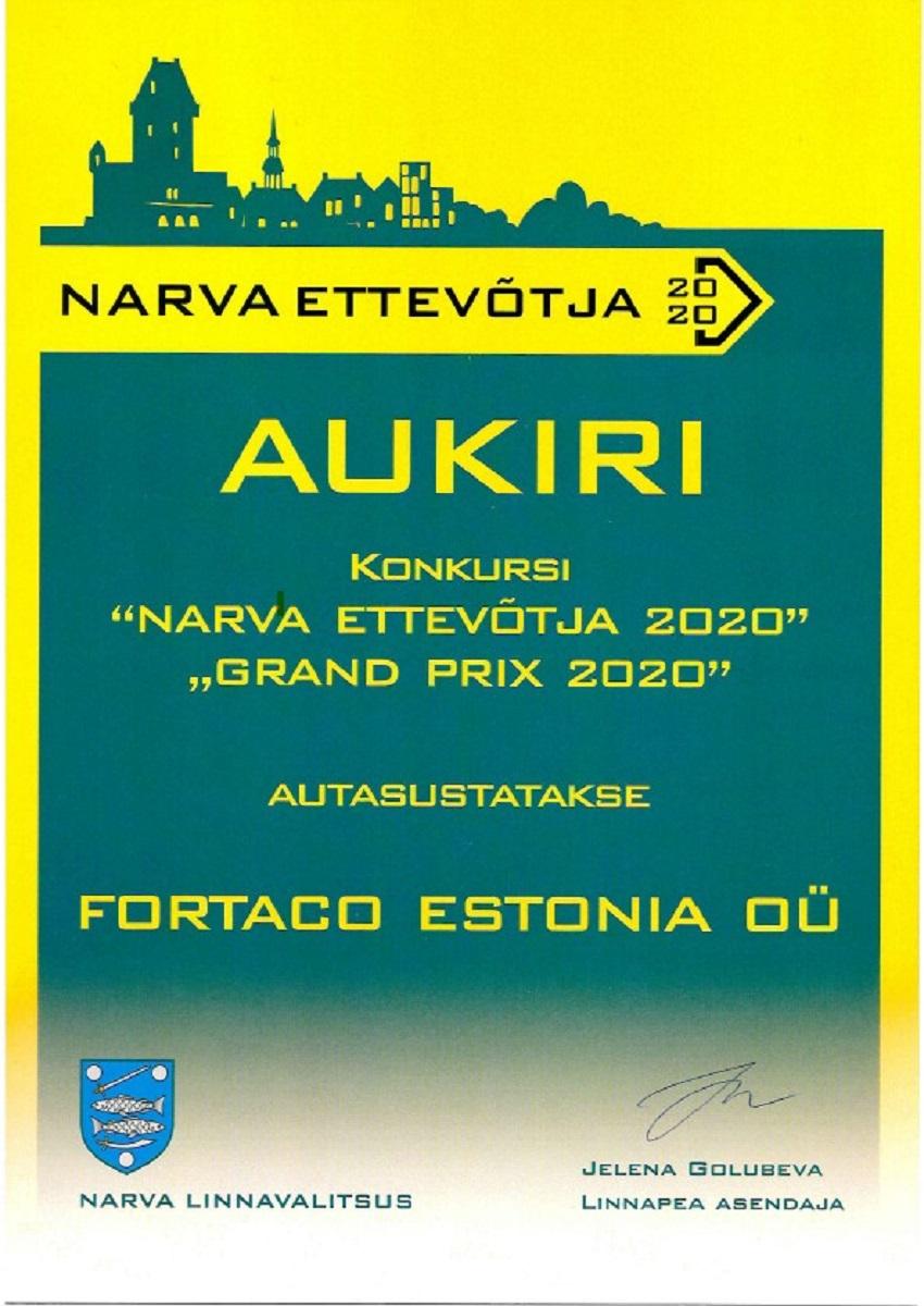 Fortaco Estonia- лучший предприниматель Нарвы в 2020г