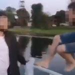 Стоп-кадр видео с прыжком в воду реки